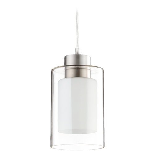 Quorum Lighting Quorum Lighting Satin Nickel Clear and White Mini-Pendant Light with Cylindrical Shade 882-165