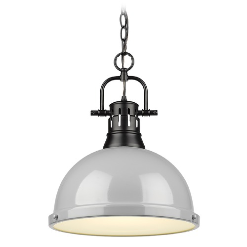 Golden Lighting Golden Lighting Duncan Black Pendant Light with Grey Shade 3602-LBLK-GY