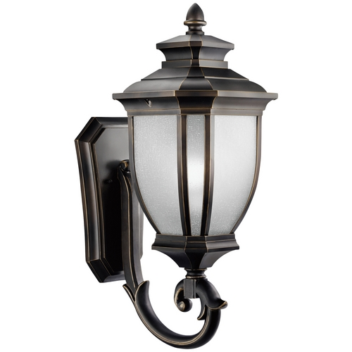 Kichler Lighting Kichler Outdoor Wall Light with White Glass in Rubbed Bronze Finish 9042RZ