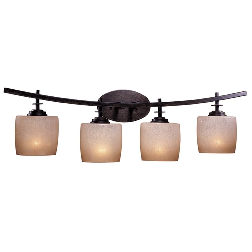 Minka Lavery Modern Bathroom Light with Beige / Cream Glass in Iron Oxide Finish 6184-357