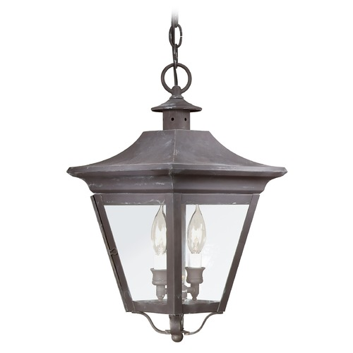 Troy Lighting Outdoor Hanging Light with Clear Glass in Charred Iron Finish F8932CI