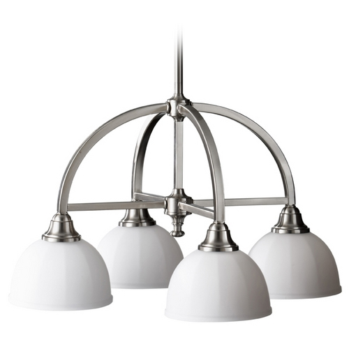 Home Solutions by Feiss Lighting Modern Chandelier with White Glass in Brushed Steel Finish F2582/4BS