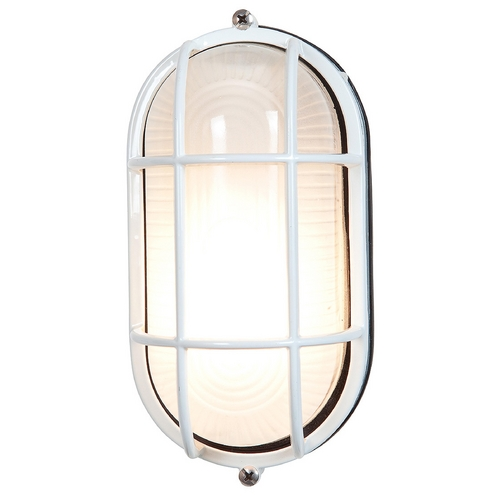 Access Lighting Outdoor Wall Light with White Glass in White Finish 20290-WH/FST