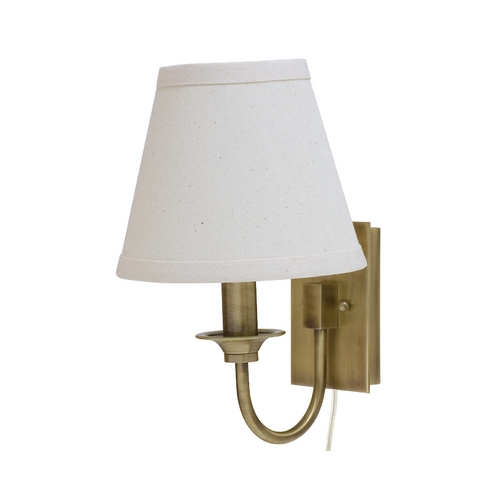 House of Troy Lighting Pin-Up Lamp with White Shade in Antique Brass Finish GR900-AB