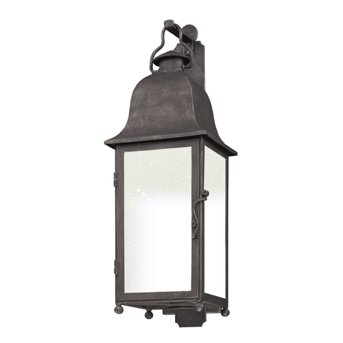 Troy Lighting Outdoor Wall Light with Clear Glass in Aged Pewter Finish BF3213