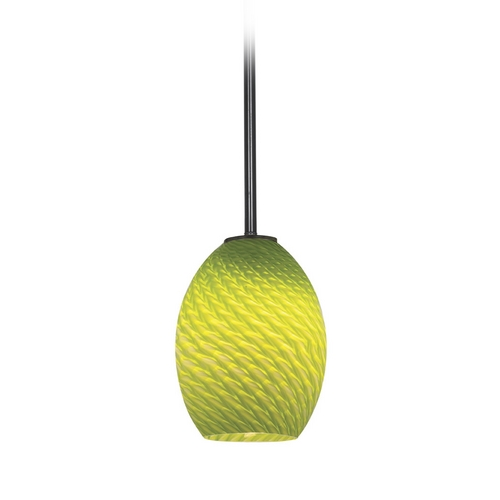 Access Lighting Modern Mini-Pendant Light with Green Glass 28023-1R-ORB/LGRFB