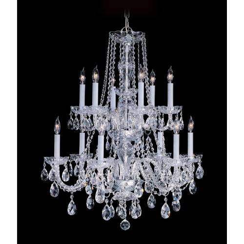 Crystorama Lighting Crystal Chandelier in Polished Brass Finish 1137-PB-CL-SAQ