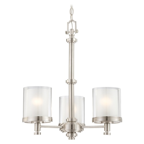 Nuvo Lighting Modern Mini-Chandelier with White Glass in Brushed Nickel Finish 60/4647