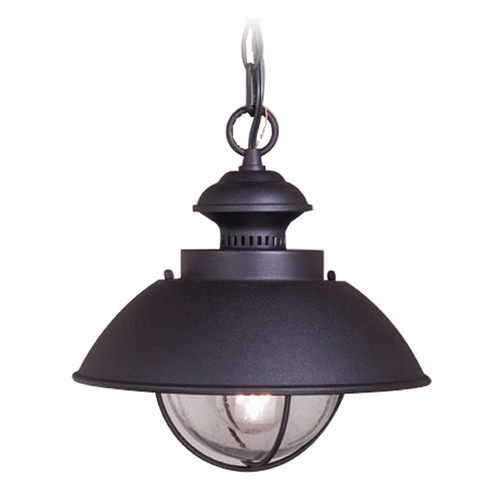 Vaxcel Lighting Outdoor Hanging Light with Seeded in Textured Black Finish OD21506TB