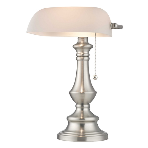 Design Classics Lighting Satin Nickel Traditional Bankers Lamp with Pull-Chain 2291-09