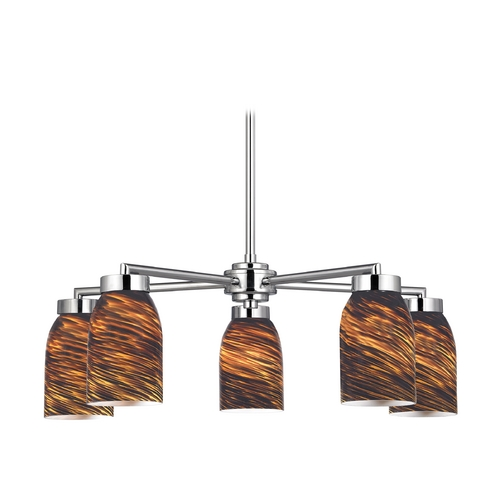 Design Classics Lighting Modern Chandelier with Five Lights and Brown Art Glass 590-26 GL1023D