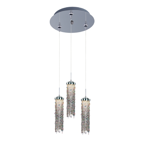 ET2 Lighting Modern LED Multi-Light Pendant Light with Multi-Color Glass and 3-Lights E94689-148PC