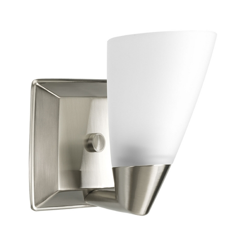 Progress Lighting Progress Sconce Wall Light with White Glass in Brushed Nickel Finish P2805-09