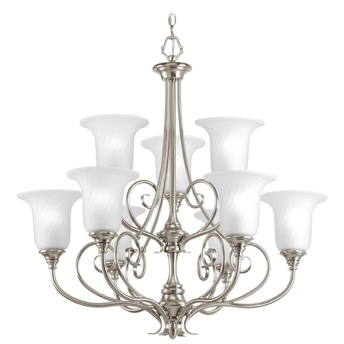 Progress Lighting Chandelier with White Glass in Brushed Nickel Finish P4288-09