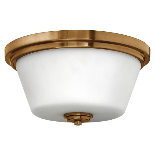 Hinkley Lighting Flushmount Light with White Glass in Brushed Bronze Finish 5551BR
