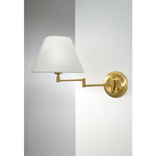 Holtkoetter Lighting Holtkoetter Swing Arm Lamp with White Shade in Antique Brass Finish 8164 AB SWRG