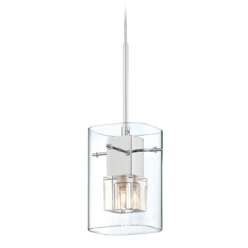 Lite Source Lighting Lite Source Aida Chrome Mini-Pendant Light with Square Shade LS-19586
