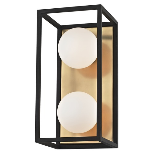 Mitzi by Hudson Valley Mid-Century Modern LED Vertical Bathroom Light Brass / Black Mitzi Aira by Hudson Valley H141302-AGB/BK