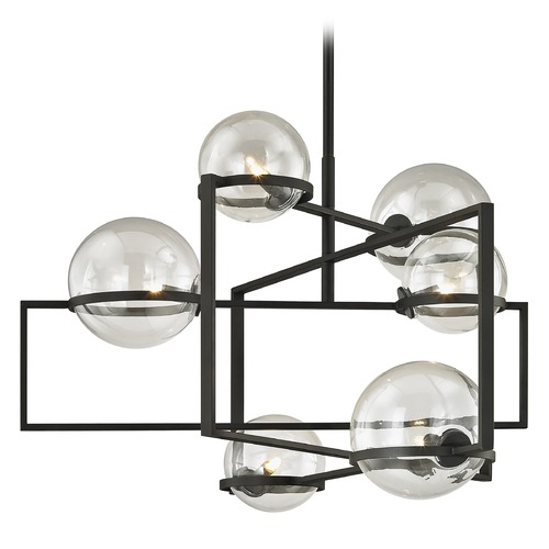 Troy Lighting Troy Lighting Elliot Textured Black Pendant Light with Globe Shade F6226