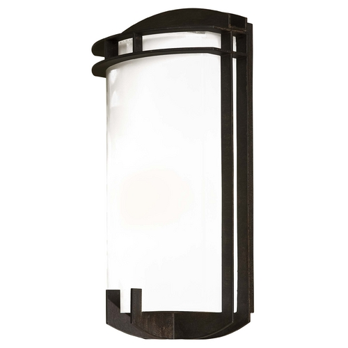 Minka Lavery Outdoor Wall Light with White Glass in Iron Oxide Finish 72102-357-PL