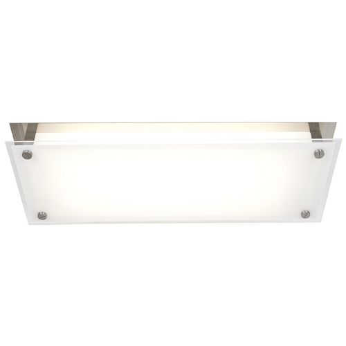 Access Lighting Modern Flushmount Light with White Glass in Brushed Steel Finish 31027-BS/FST