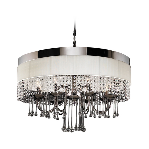 PLC Lighting Modern Chandelier with Clear Glass in Black Chrome Finish 34120 BC