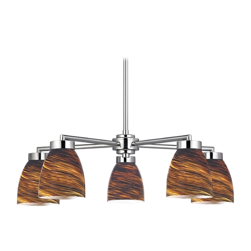 Design Classics Lighting Modern Chandelier with Five Lights and Brown Art Glass 590-26 GL1023MB