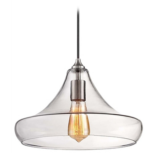 Minka Lavery Minka Brushed Nickel Mini-Pendant Light with Clear Glass Shade 2262-84