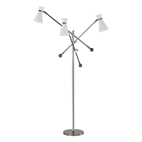 Robert Abbey Lighting Mid-Century Modern Floor Lamp Polished Nickel Jonathan Adler Havana by Robert Abbey W696