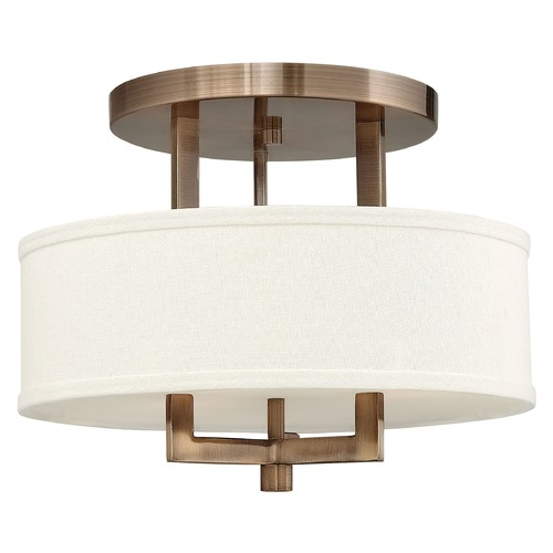 Hinkley Lighting Modern Semi-Flushmount Light with White Shade in Brushed Bronze 3200BR