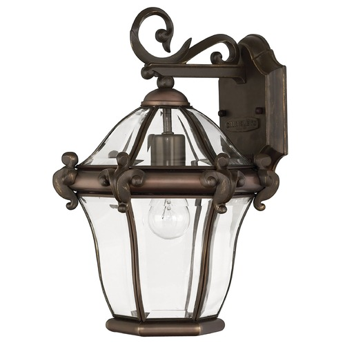 Hinkley Outdoor Wall Light with Clear Glass in Copper Bronze Finish 2440CB