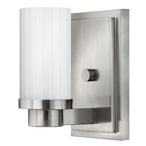 Hinkley Lighting Sconce Wall Light with White Glass in Brushed Nickel Finish 4970BN