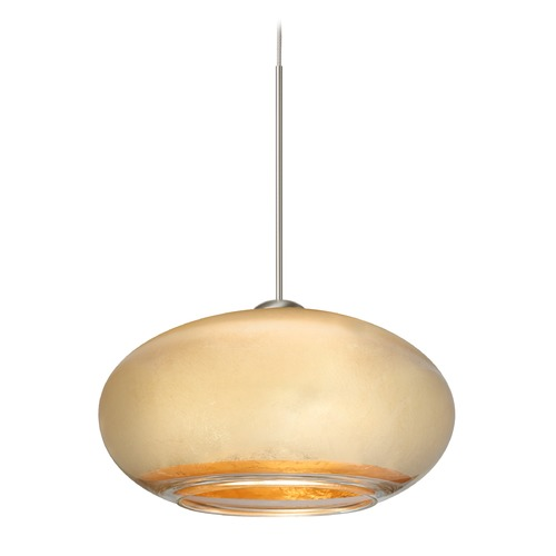 Besa Lighting Besa Lighting Brio Satin Nickel LED Mini-Pendant Light with Oblong Shade 1XT-2492GF-LED-SN