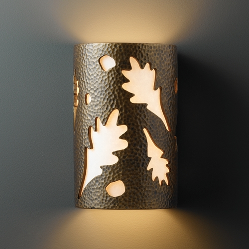 Justice Design Group Outdoor Wall Light with White in Hammered Brass Finish CER-7465W-HMBR