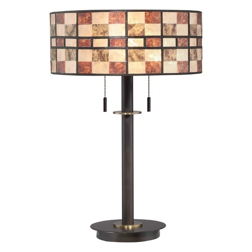 Quoizel Lighting Quoizel Lighting Mica Western Bronze Table Lamp with Drum Shade MC2134TWT