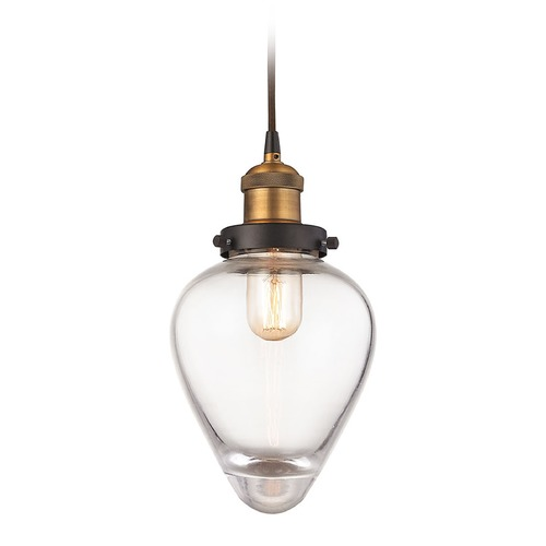 Elk Lighting Elk Lighting Bartram Oil Rubbed Bronze, Antique Brass Mini-Pendant Light with Bowl / Dome Shade 16325/1