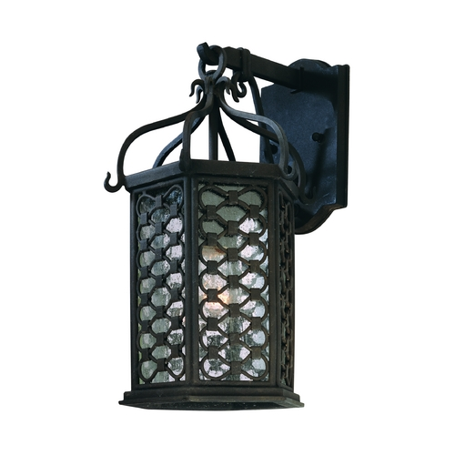 Troy Lighting Outdoor Wall Light with Clear Glass in Old Iron Finish BF2372OI