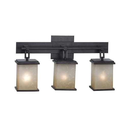 Kenroy Home Lighting Modern Bathroom Light with Amber Glass in Oil Rubbed Bronze Finish 03374