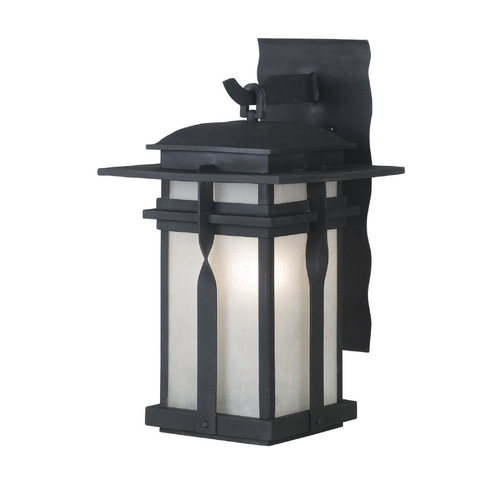 Kenroy Home Lighting Modern Outdoor Wall Light with White Glass in Black Finish 91901BL