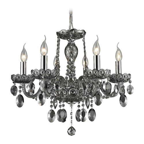 Elk Lighting Crystal Chandelier in Smoke Plated Finish 80042/6