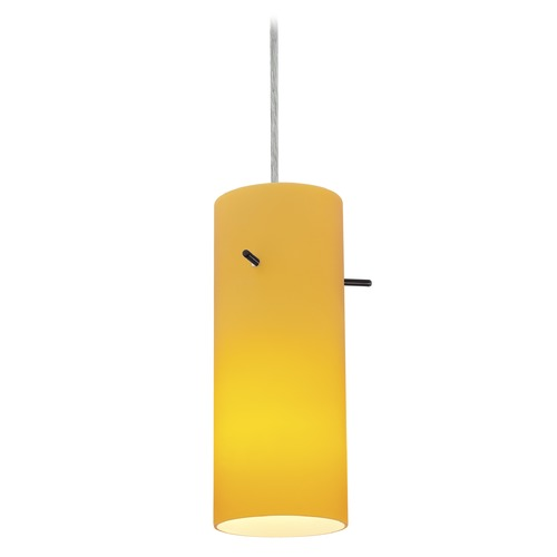 Access Lighting Access Lighting Sydney Cylinder Brushed Steel Mini-Pendant with Cylindrical Shade 28030-1C-BS/AMB