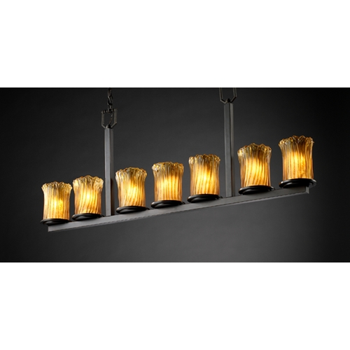 Justice Design Group Justice Design Group Veneto Luce Collection Dark Bronze Island Light with Cylindrical Shade GLA-8779-16-AMBR-DBRZ