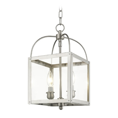 Livex Lighting Livex Lighting Milford Brushed Nickel Mini-Pendant Light with Square Shade 4041-91