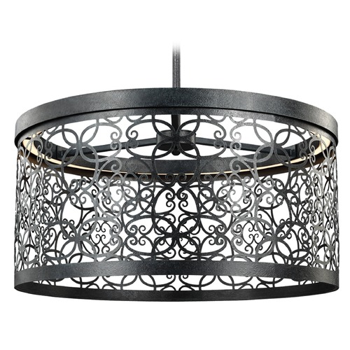 Feiss Lighting Feiss Lighting Arramore Dark Weathered Zinc LED Outdoor Hanging Light F3097/1DWZ-LED