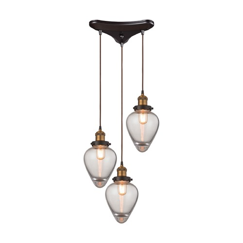 Elk Lighting Elk Lighting Bartram Oil Rubbed Bronze, Antique Brass Multi-Light Pendant with Bowl / Dome Shade 16325/3