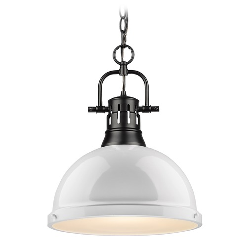 Golden Lighting Golden Lighting Duncan Black Pendant Light with White Shade 3602-LBLK-WH