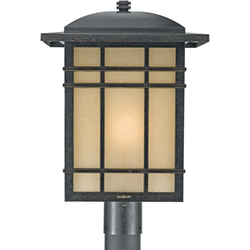 Quoizel Lighting Post Light with Amber Glass in Imperial Bronze Finish HC9013IB