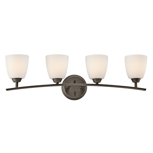 Kichler Lighting Kichler Bathroom Light with White Glass in Olde Bronze Finish 45361OZ