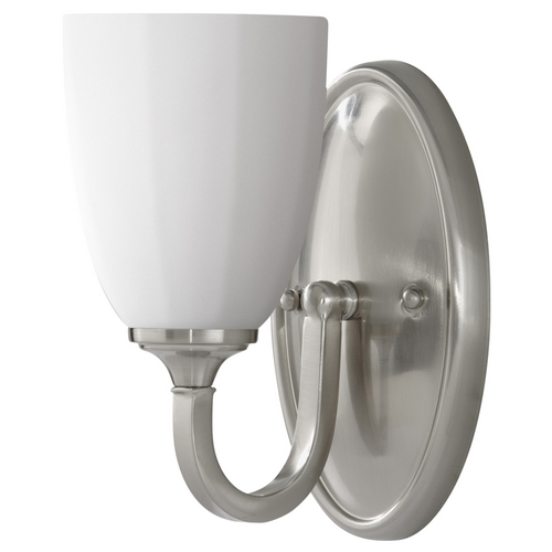 Home Solutions by Feiss Lighting Modern Sconce Wall Light with White Glass in Brushed Steel Finish VS17401-BS