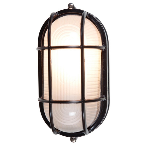 Access Lighting Outdoor Wall Light with White Glass in Black Finish 20292-BL/FST